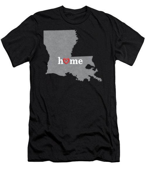 State Map Outline Louisiana With Heart In Home Men's T-Shirt (Athletic Fit)