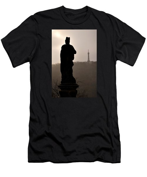 Statue And Petrin Tower Men's T-Shirt (Athletic Fit)
