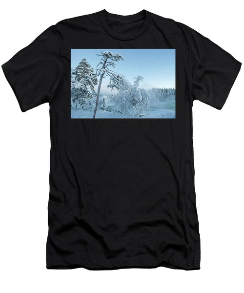 Magic Blue  Storforsen Waterfall  Men's T-Shirt (Athletic Fit)