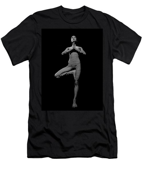 0027-dja Yoga Balance Black White Zebra Stripe Photograph By Chris Maher Men's T-Shirt (Slim Fit) by Chris Maher