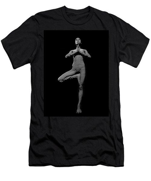 0027-dja Yoga Balance Black White Zebra Stripe Photograph By Chris Maher Men's T-Shirt (Athletic Fit)