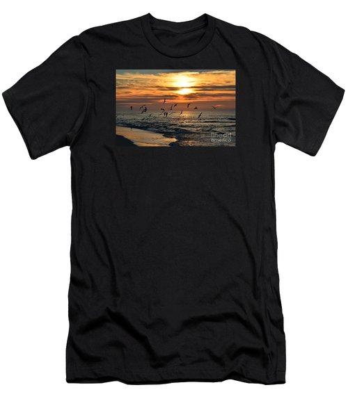 0221 Gang Of Gulls At Sunrise On Navarre Beach Men's T-Shirt (Athletic Fit)