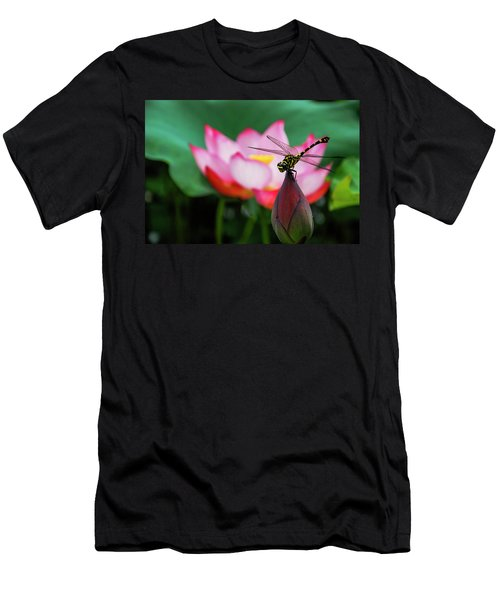 A Dragonfly On Lotus Flower Men's T-Shirt (Athletic Fit)
