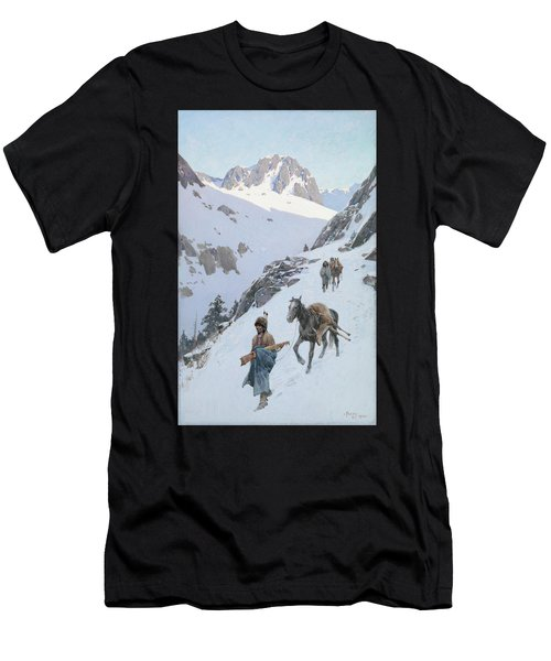 Men's T-Shirt (Slim Fit) featuring the drawing A Successful Hunt by Henry Francois Farny
