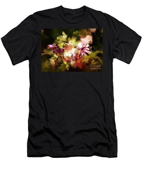Men's T-Shirt (Athletic Fit) featuring the painting Abstract Flowers by Tithi Luadthong
