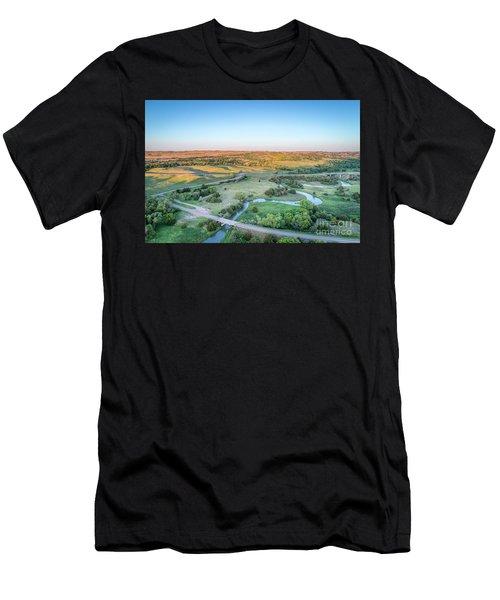 aerial view of Dismal River in Nebraska Men's T-Shirt (Athletic Fit)