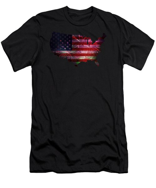 American Flag With Fireworks Display Men's T-Shirt (Athletic Fit)