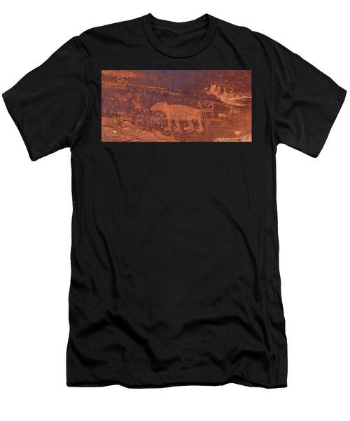 Ancient Native American Petroglyphs On A Canyon Wall Near Moab. Men's T-Shirt (Athletic Fit)