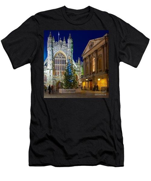Bath Abbey At Night At Christmas Men's T-Shirt (Athletic Fit)