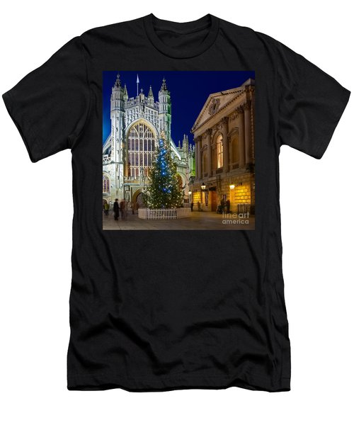 Bath Abbey At Night At Christmas Men's T-Shirt (Athletic Fit)
