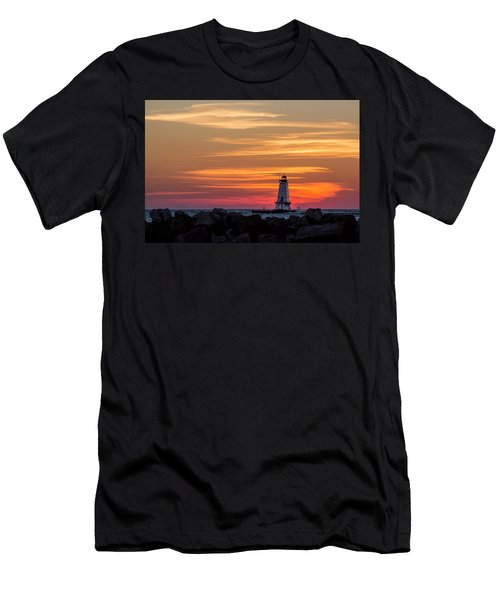 Men's T-Shirt (Athletic Fit) featuring the photograph Beautiful Ludington Lighthouse Sunset by Adam Romanowicz