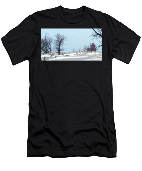 Men's T-Shirt (Athletic Fit) featuring the photograph Big Red Lighthouse - View 1 by Linda Shafer