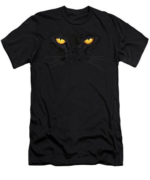 Men's T-Shirt (Athletic Fit) featuring the painting Superstitious Cat by Anastasiya Malakhova