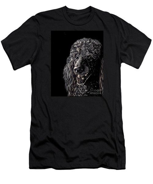 Men's T-Shirt (Slim Fit) featuring the drawing Black Standard Poodle by Terri Mills