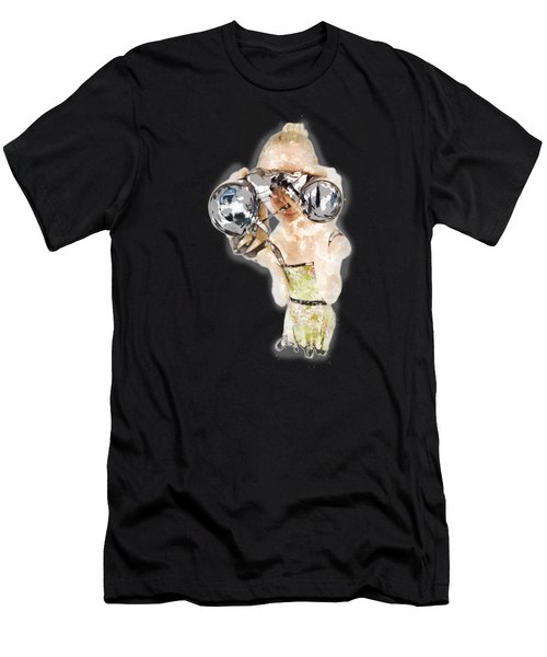 Blond Woman With Binoculars  Men's T-Shirt (Athletic Fit)