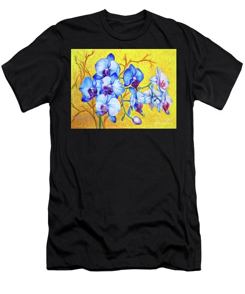 Men's T-Shirt (Athletic Fit) featuring the painting Blue Orchids #2 by Nancy Cupp