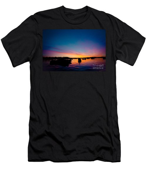 Boats And Sunrise Above Lake Water Summer Time Latvia Ezera Skanas Men's T-Shirt (Athletic Fit)