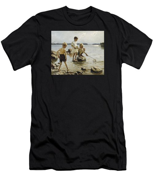 Boys Playing On The Shore Men's T-Shirt (Athletic Fit)