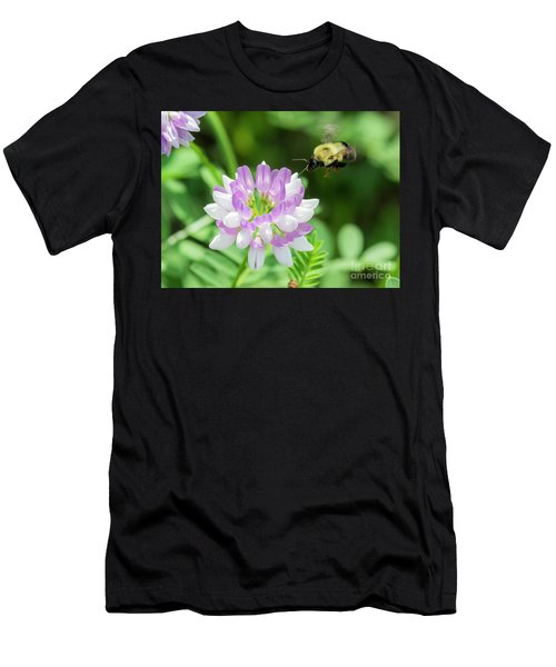 Bumble Bee Pollinating A Flower Men's T-Shirt (Athletic Fit)