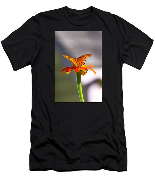 Men's T-Shirt (Athletic Fit) featuring the photograph Butterfly On Flower by Willard Killough III