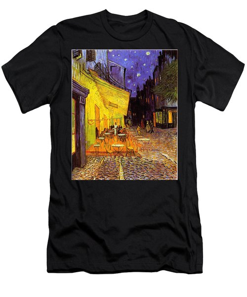 Men's T-Shirt (Athletic Fit) featuring the painting Cafe Terrace At Night by Van Gogh