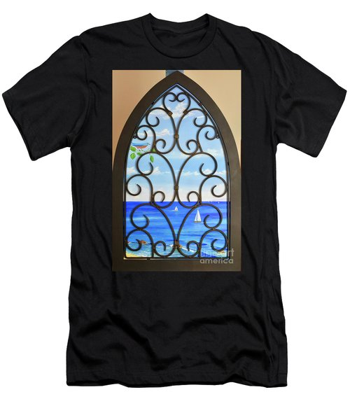 Men's T-Shirt (Athletic Fit) featuring the painting Cathedral View by Mary Scott