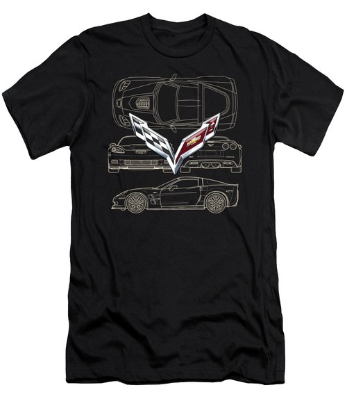 Chevrolet Corvette 3 D Badge Over Corvette C 6 Z R 1 Blueprint Men's T-Shirt (Athletic Fit)