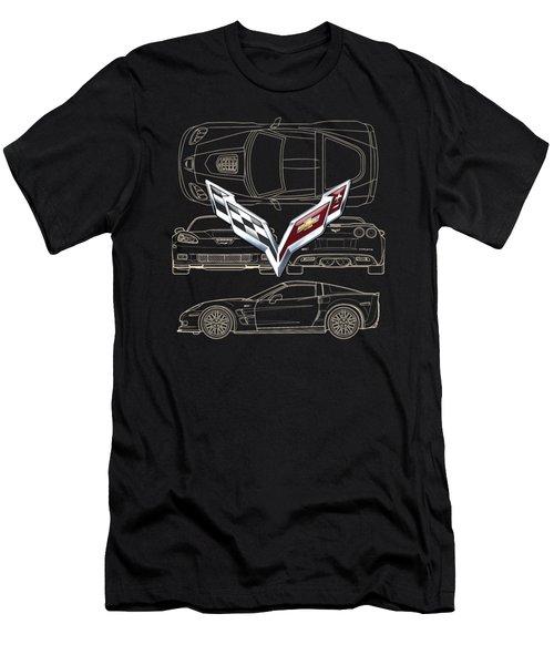 Chevrolet Corvette 3 D Badge Over Corvette C 6 Z R 1 Blueprint Men's T-Shirt (Athletic Fit)
