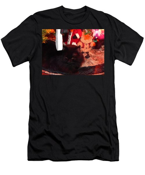 Christmas Kitty Men's T-Shirt (Athletic Fit)