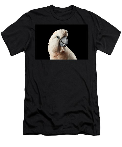 Men's T-Shirt (Athletic Fit) featuring the photograph Closeup Head Of Beautiful Moluccan Cockatoo, Pink Salmon-crested Parrot Isolated On Black Background by Sergey Taran