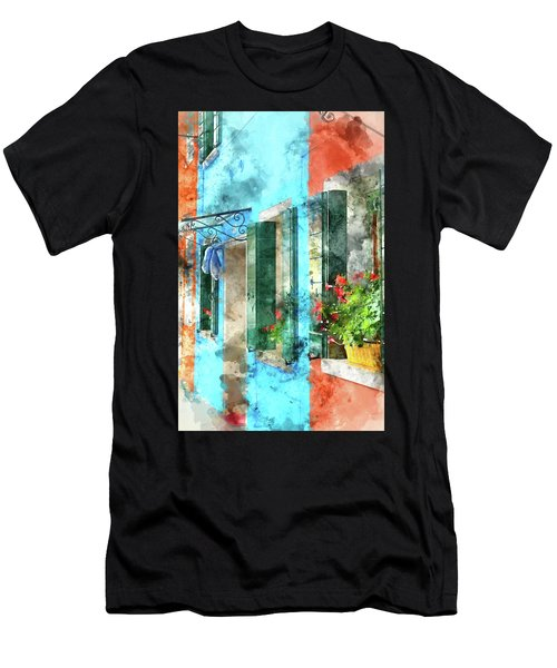 Colorful Houses In Burano Island Venice Italy Men's T-Shirt (Athletic Fit)