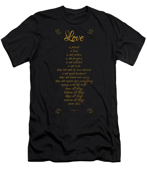 1 Corinthians 13 Love Is Black Background Men's T-Shirt (Athletic Fit)