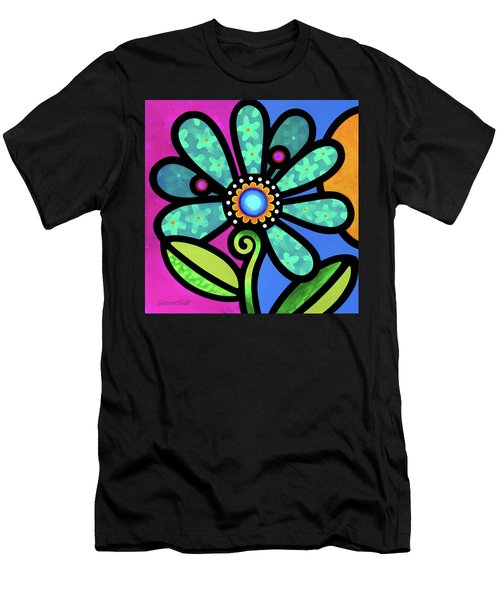 Cosmic Daisy In Aqua Men's T-Shirt (Athletic Fit)