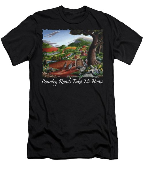 Country Roads Take Me Home T Shirt - Turkeys In The Hills Country Landscape 2 Men's T-Shirt (Slim Fit) by Walt Curlee