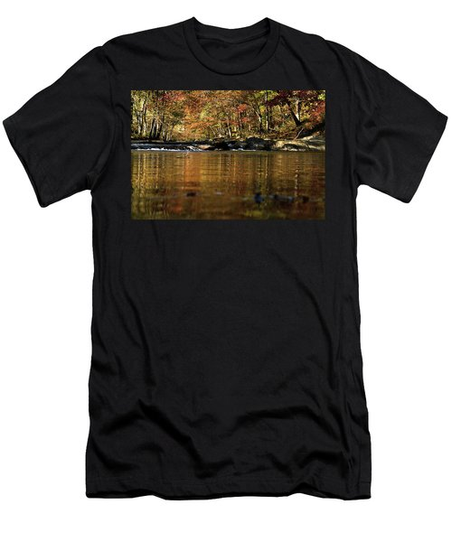 Creek Water Flowing Through Woods In Autumn Men's T-Shirt (Athletic Fit)