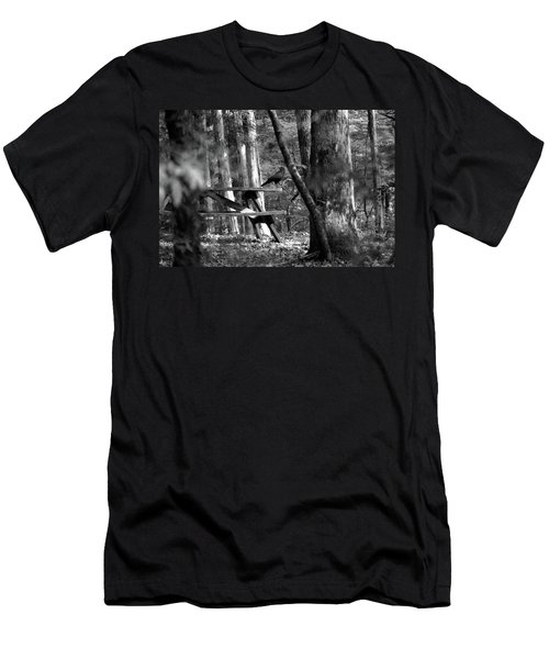Men's T-Shirt (Slim Fit) featuring the photograph Crow On A Table by Andy Lawless
