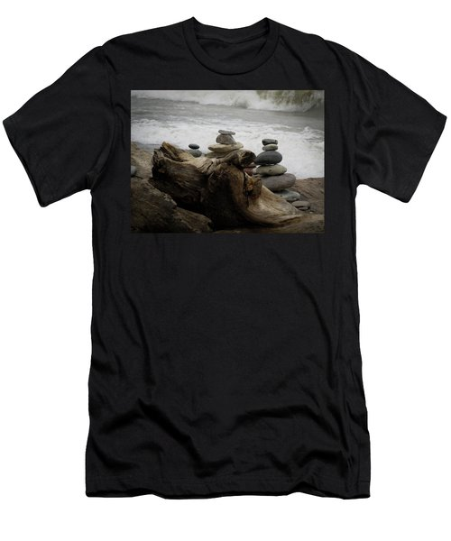 Men's T-Shirt (Slim Fit) featuring the photograph Driftwood Cairns by Kimberly Mackowski