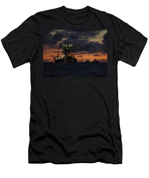 Drill Rig At Dusk Men's T-Shirt (Athletic Fit)