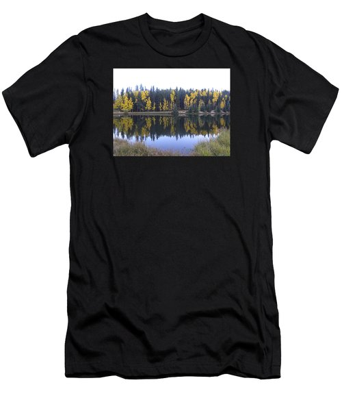 Men's T-Shirt (Athletic Fit) featuring the photograph Potty Pond Reflection - Fall Colors Divide Co by Margarethe Binkley