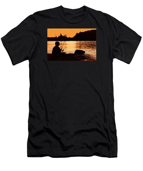 Fishing From A Rock  Men's T-Shirt (Slim Fit) by Lyle Crump
