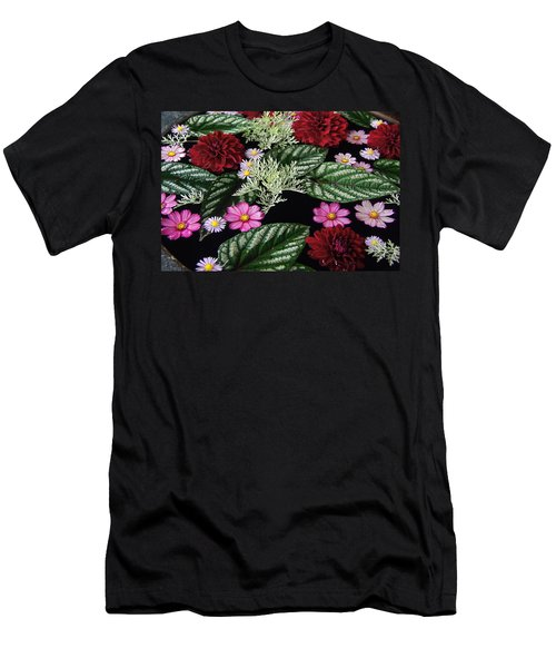 Men's T-Shirt (Slim Fit) featuring the photograph Floating Flower Bouquet by Byron Varvarigos