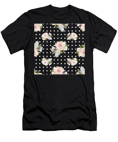 Floral Rose Cluster W Dot Bedding Home Decor Art Men's T-Shirt (Athletic Fit)