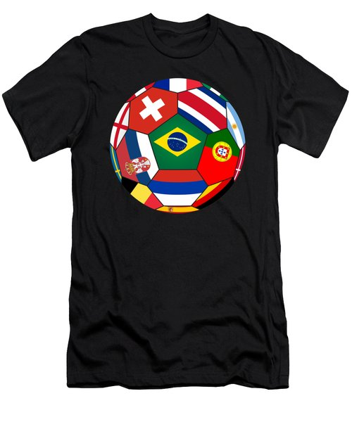 Football Ball With Various Flags Men's T-Shirt (Athletic Fit)