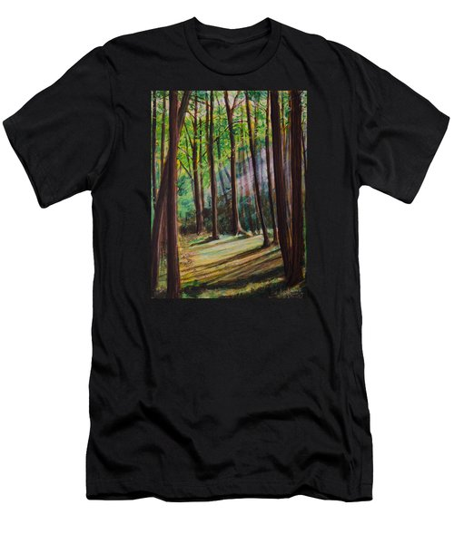Men's T-Shirt (Slim Fit) featuring the painting Forest Light by Ron Richard Baviello