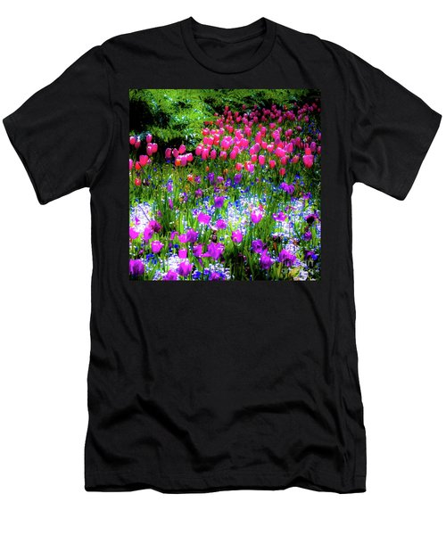 Garden Flowers With Tulips Men's T-Shirt (Athletic Fit)