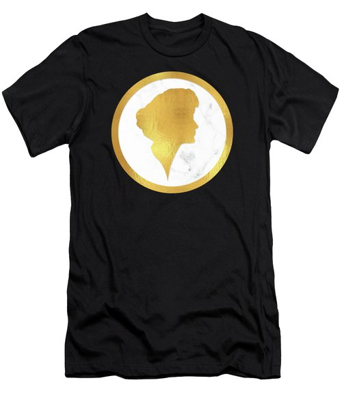 Gibson Girl Gold Silhouette, Marble Cameo, Left Facing Men's T-Shirt (Athletic Fit)