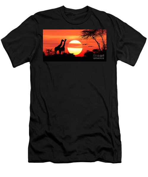 Giraffes At Sunset Men's T-Shirt (Athletic Fit)
