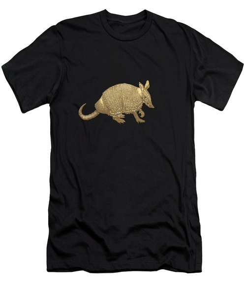Gold Armadillo On Black Canvas Men's T-Shirt (Athletic Fit)