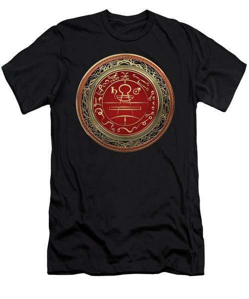 Gold Seal Of Solomon - Lesser Key Of Solomon On Black Velvet  Men's T-Shirt (Athletic Fit)