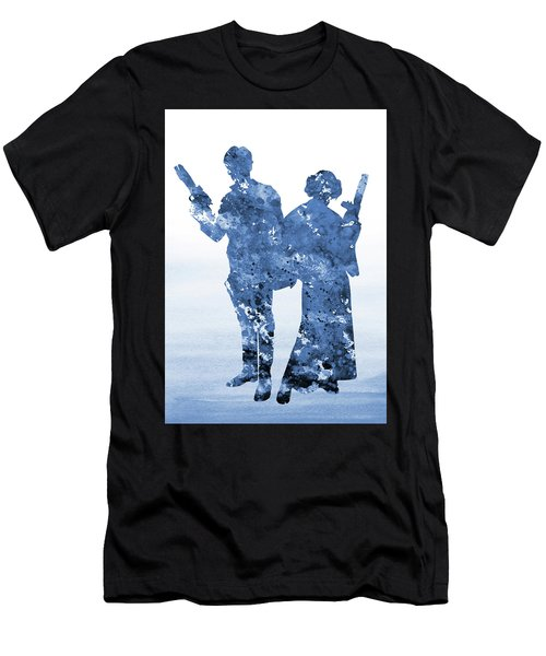 Han Solo And Princess Leia-blue Men's T-Shirt (Athletic Fit)